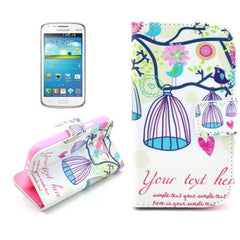 Birdcage Pattern Leather Case with Card Slots & Holder for Samsung Galaxy Core i8262