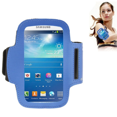 Universal PU Sports Armband Case with Earphone Hole & Key Pocket for Samsung Galaxy S IV / i9500 / i9300 / MOTO G (Blue)