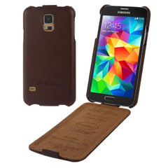 Deluxe Litchi Texture Vertical Flip Genuine Leather Case with Fashion Logo for Samsung Galaxy S5 / G900(Coffee)