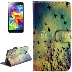 Birds Pattern Leather Case with Holder & Card Slots & Wallet for Samsung Galaxy S5