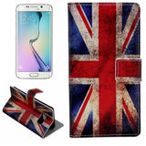 Leather Case with Holder & Card Slots for Samsung Galaxy S6 Edge - Retro UK Flag - Zasttra.com - 1