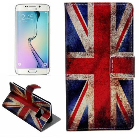 Leather Case with Holder & Card Slots for Samsung Galaxy S6 Edge - Retro UK Flag