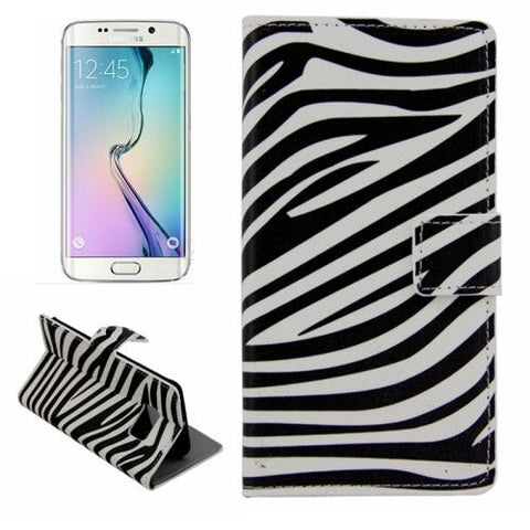 Leather Case with Holder & Card Slots for Samsung Galaxy S6 Edge - Zebra