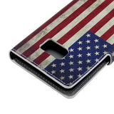 Leather Case with Holder & Card Slots for Samsung Galaxy S6 Edge - Retro US Flag - Zasttra.com - 2