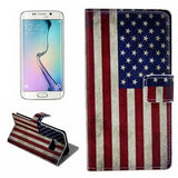 Leather Case with Holder & Card Slots for Samsung Galaxy S6 Edge - Retro US Flag - Zasttra.com - 1
