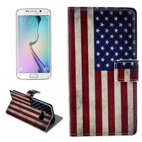 Leather Case with Holder & Card Slots for Samsung Galaxy S6 Edge - Retro US Flag