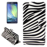 Zebra Pattern Horizontal Flip Leather Case with Holder & Card Slots for Samsung Galaxy A7 / A700F