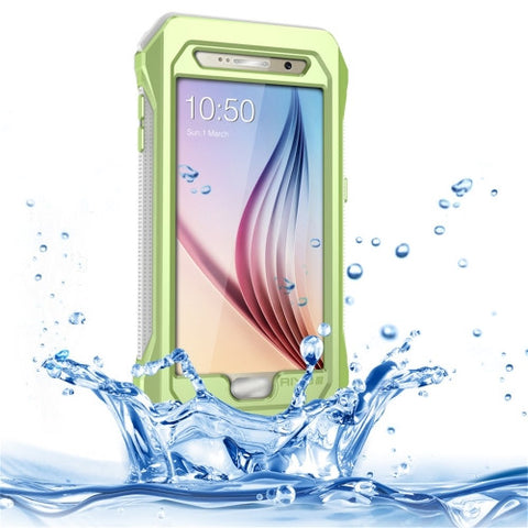 RIYO for Samsung Galaxy S6 / G920 IP68 Waterproof Shockproof Dustproof Snowproof Protective Case with Holder & Lanyard(Green)