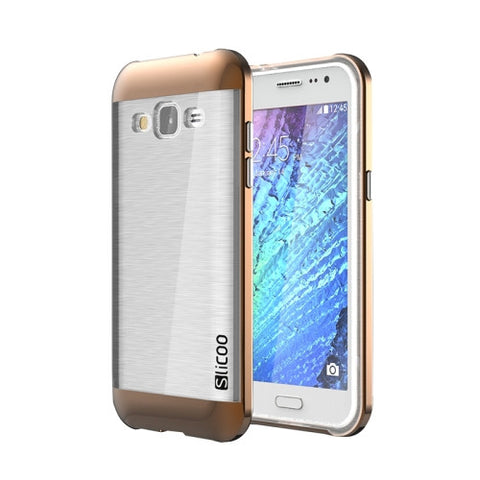 Slicoo Brushed Texture Electroplating Transparenct TPU + PC Combination Case for Samsung Galaxy J2 / J200(Coffee)