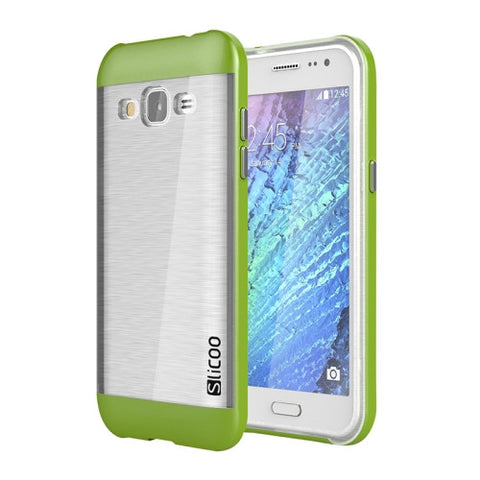 Slicoo Brushed Texture Electroplating Transparenct TPU + PC Combination Case for Samsung Galaxy J2 / J200(Green)
