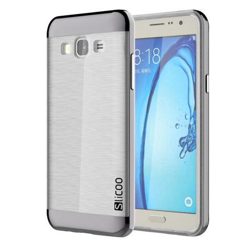 Slicoo for Samsung Galaxy On5 / G550 Brushed Texture Electroplating Transparenct TPU + PC Combination Case (Black)