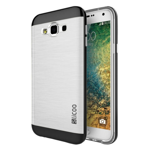 Slicoo for Samsung Galaxy E5 / E500 Brushed Texture Electroplating Transparenct TPU + PC Combination Case(Black)