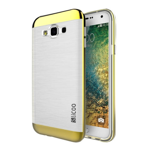 Slicoo for Samsung Galaxy E5 / E500 Brushed Texture Electroplating Transparenct TPU + PC Combination Case (Gold)