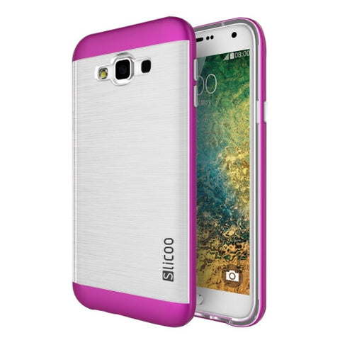 Slicoo for Samsung Galaxy E5 / E500 Brushed Texture Electroplating Transparenct TPU + PC Combination Case (Magenta)