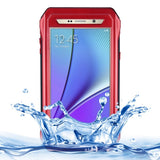 RIYO for Samsung Galaxy Note 5 / N920 Professional and Powerful IP68 Waterproof SnowProof Shockproof Dustproof PC + TPE Protective Case with Tempered Glass Front Film Cover & Holder & Sling & Guitar Pick(Red)