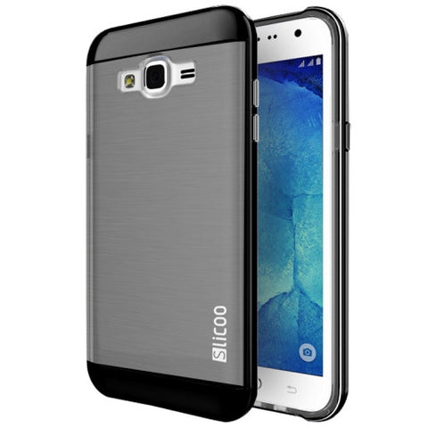Slicoo Brushed Texture Electroplating Combination Case for Samsung Galaxy J1 / J100(Black)