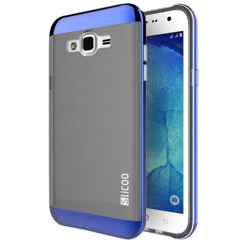Slicoo Brushed Texture Electroplating Combination Case for Samsung Galaxy J1 / J100(Blue)