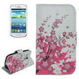 Cherry Blossom Pattern Flip Leather Case with Holder & Card Slots for Samsung Galaxy SIII mini / i8190