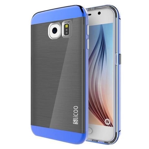 Slicoo for Samsung Galaxy S6 / G920 Brushed Texture Electroplating Combination Case (Blue)