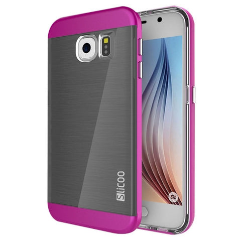 Slicoo for Samsung Galaxy S6 / G920 Brushed Texture Electroplating Combination Case (Magenta)