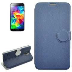 Coin Shape Magnetic Buckle Wood Texture Leather Case with Holder for Samsung Galaxy S5 / G900 (Blue)