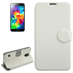 Coin Shape Magnetic Buckle Wood Texture Leather Case with Holder for Samsung Galaxy S5 / G900 (White)