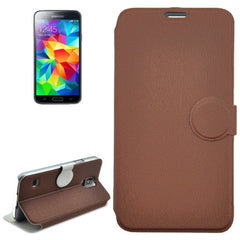 Coin Shape Magnetic Buckle Wood Texture Leather Case with Holder for Samsung Galaxy S5 / G900 (Brown)