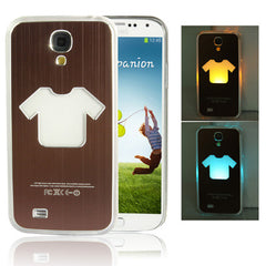 Clothes Pattern Hollow LED Changed Sense Flash Light Effect Pasting Metal Plastic Case for Samsung Galaxy S IV / i9500(Coffee)