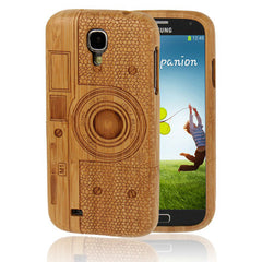 Camera Woodcarving Pattern Carbonized Bamboo Material Case for Samsung Galaxy S IV / i9500