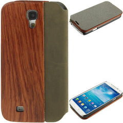 Cherry Wood Magnet Frosting Patch Horizontal Flip Leather Case  for Samsung Galaxy S IV / i9500
