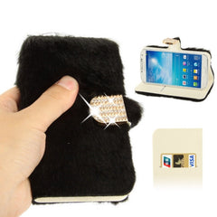 Diamond Encrusted Winter Warm Fur Leather Case with Credit Card Slot & Holder for Samsung Galaxy S IV / i9500 (Black)