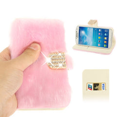 Diamond Encrusted Winter Warm Fur Leather Case with Credit Card Slot & Holder for Samsung Galaxy S IV / i9500 (Pink)
