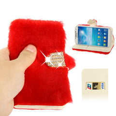 Diamond Encrusted Winter Warm Fur Leather Case with Credit Card Slot & Holder for Samsung Galaxy S IV / i9500 (Red)