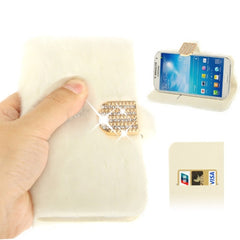 Diamond Encrusted Winter Warm Fur Leather Case with Credit Card Slot & Holder for Samsung Galaxy S IV / i9500 (White)