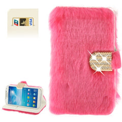 Diamond Encrusted Winter Warm Fur Leather Case with Credit Card Slot & Holder for Samsung Galaxy S IV / i9500 (Magenta)