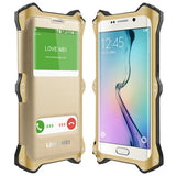 LOVE MEI for Samsung Galaxy S6 edge / G925 Litchi Texture Automatic Absorption Leather Case Metal Protective Shell Combination Case with Caller ID Display(Gold)