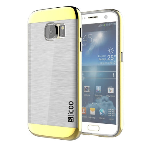 SLiCOO for Samsung Galaxy S7 / G930 Concise Fashion Separable Brushed Texture Transparent TPU + Electroplating PC Combination Case (Gold)