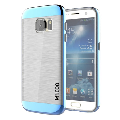 SLiCOO for Samsung Galaxy S7 / G930 Concise Fashion Separable Brushed Texture Transparent TPU + Electroplating PC Combination Case (Blue)