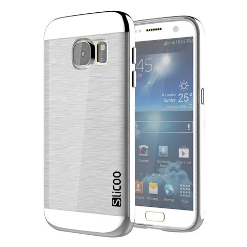 SLiCOO for Samsung Galaxy S7 / G930 Concise Fashion Separable Brushed Texture Transparent TPU + Electroplating PC Combination Case (Silver)