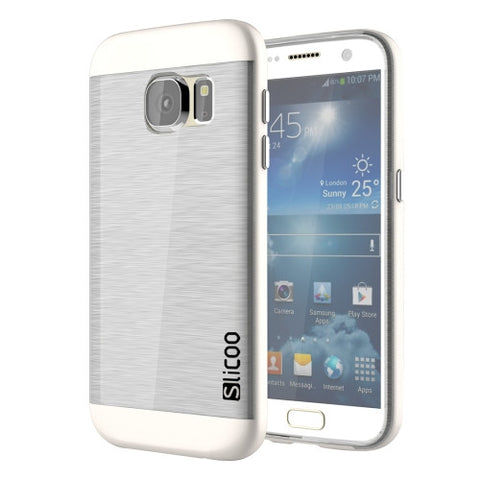 SLiCOO for Samsung Galaxy S7 / G930 Concise Fashion Separable Brushed Texture Transparent TPU + Electroplating PC Combination Case (White)