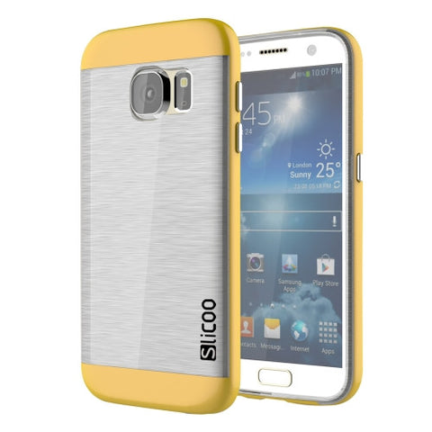 SLiCOO for Samsung Galaxy S7 / G930 Concise Fashion Separable Brushed Texture Transparent TPU + Electroplating PC Combination Case (Yellow)