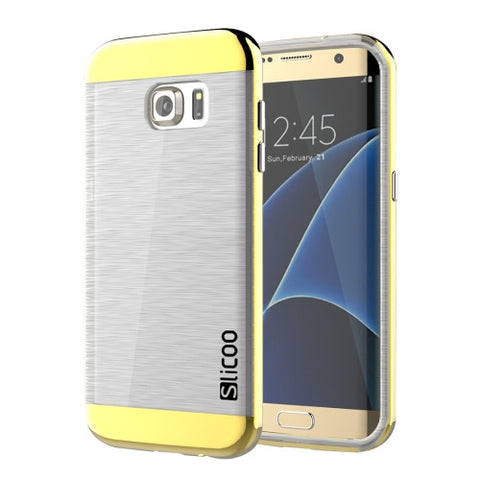 SLiCOO for Samsung Galaxy S7 Edge/ G935 Concise Fashion Separable Brushed Texture Transparent TPU + Electroplating PC Combination Case (Gold)
