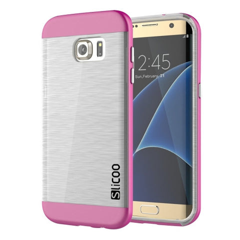 SLiCOO for Samsung Galaxy S7 Edge/ G935 Concise Fashion Separable Brushed Texture Transparent TPU + Electroplating PC Combination Case (Magenta)