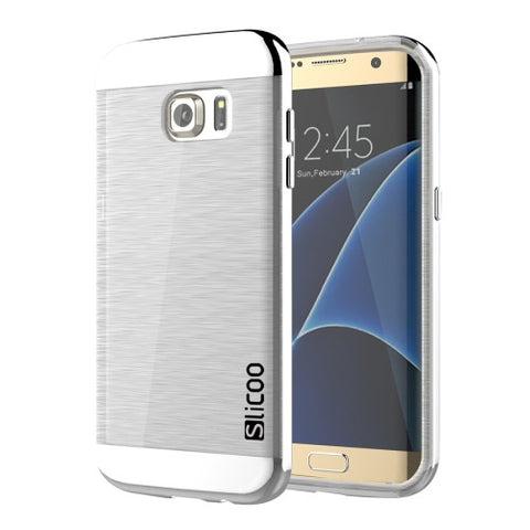 SLiCOO for Samsung Galaxy S7 Edge/ G935 Concise Fashion Separable Brushed Texture Transparent TPU + Electroplating PC Combination Case (Silver)