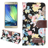 Floral Cloth Magnetic Snap Flip Leather Case with Holder and Card Slots for Samsung Galaxy A7 / A700F(Black)