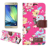 Floral Cloth Magnetic Snap Flip Leather Case with Holder and Card Slots for Samsung Galaxy A7 / A700F(Magenta)