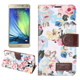 Floral Cloth Magnetic Snap Flip Leather Case with Holder and Card Slots for Samsung Galaxy A7 / A700F(White)