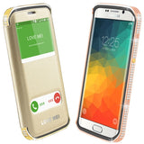 Online Buy LOVE MEI for Samsung Galaxy S6 Edge+ / G928 Star Line 24K Gold Plated Metal Czech Diamond Encrusted Cover + Removable Leather Case with Call Display ID(Rose Gold) | South Africa | Zasttra.com