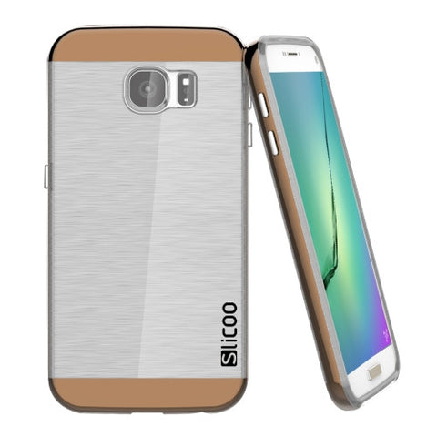 SLiCOO Concise Fashion Separable Dichromatic Brushed Texture Transparenct TPU + Electroplating PC Combination Case for Samsung Galaxy S7 Plus(Coffee)