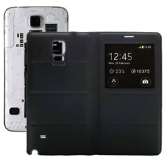 Horizontal Flip Leather Case + Plastic Replacement Back Cover with Call Display ID for Samsung Galaxy Note 4(Black)